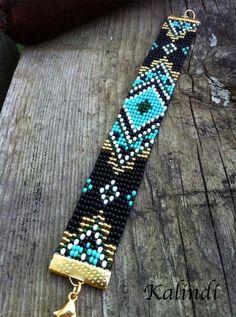 Bracelet perlé Bracelet turquoise noir Bracelet Boho - Just DIY Loom Bracelet Patterns, Bead Loom Bracelets, Bead Loom Patterns, Woven Bracelets, Beaded Jewelry Patterns, Beading Patterns, Beading Ideas, Bead Loom Designs, Bracelet Turquoise