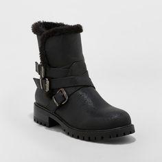5efd495d224 Women s Joan Buckle Wide Width Seasonal Boots - A New Day Black 6.5W New Day