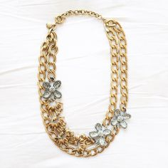 J.Crew Pave Flower Necklace 100% authentic J.Crew (it is stamped). 100% NEW and unworn. Just own too many necklaces so it gets neglected. Hope to see it go to a new loving home! Can ship same day. Price listed IS the lowest price. Thank you! J. Crew Jewelry Necklaces