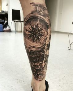 Compass tattoo tatuointi tampere belowzerotattoo leg blackandgrey bngtattoo
