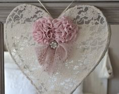 Shabby chic heart and a bouquet of flowers