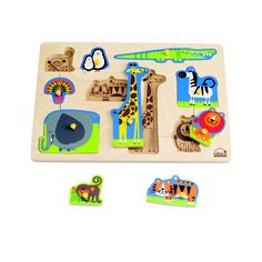 This wild animals in this puzzle can be used as figures in a pretend zoo or be placed in their jungle environment in this delightful puzzle. Puzzle play helps children develop fine motor skills, cognition, and visual senses.