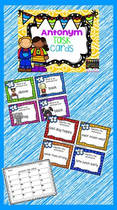 Working with antonyms helps to expand a student's vocabulary. These task cards are a fun way practice the skill. Task cards can be used in many ways in the classroom. They are great for literacy centers, small group instruction, a game of scoot or even as an assessment. There are 2 sets of 20 cards; 1st set: students write the antonym for the picture shown on the task card. 2nd set: students read the group of words and identify the antonyms. There is also a student response sheet included.