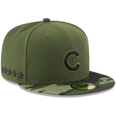Chicago Cubs Green 2017 Memorial Day 59FIFTY Fitted Hat  #ChicagoCubs #Cubs #MLB #ThatsCub #FlyTheW #MemorialDay