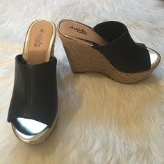 NEW Platform Wedges Never Worn! Walked around house in them once. 5 1/2 inch heel 2 inch platform. Size 6 but it fits more like a 5 1/2. Beautiful gold color inside. Perfect for the summer and can be worn with just about anything! Charlotte Russe Shoes Wedges