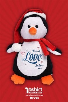 Our cute and cuddly Christmas Penguin! Personalised with high quality embroidery! Customise T Shirt, Elf On The Shelf, Penguins, Snoopy, Teddy Bear, Embroidery, Christmas Ornaments, Toys, Holiday Decor
