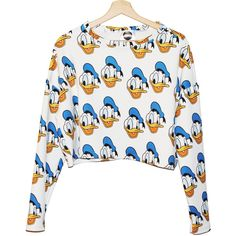 FREE SHIPPING DONALD crop sweater jumper top full print all over... ($44) ❤ liked on Polyvore featuring tops, sweaters, shirts, star shirt, retro shirts, comic book, cropped sweater and colorful shirts