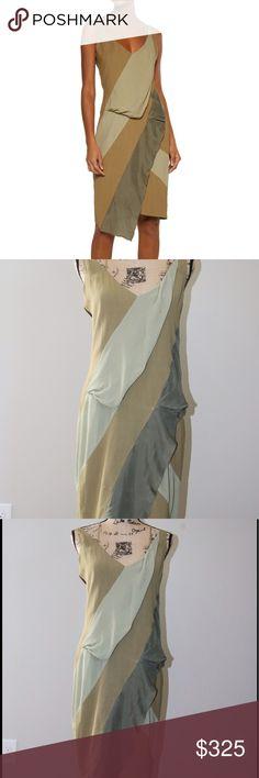 BELSTAFF asymmetric silk/ satin trim dress sz 42 Belstaff sage green , light green, army green,  twill crepe    Crossover shoulder strap  draped bodice   72% viscose  28% ramie 100% silk belstaff Dresses