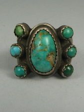 Old Navajo 7 Turquoise Butterfly Ring