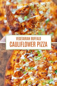 This buffalo cauliflower pizza might just be the best vegetarian pizza you ever eat. Crispy, spicy cauliflower, two cheeses, and a creamy, tangy ranch. It will make you wish every night was pizza night. Vegetarian Pizza, Healthy Pizza, Vegetarian Recipes, Healthy Recipes, Vegetarian Options, Healthy Eats, Spicy Cauliflower, Buffalo Cauliflower, Cauliflower Recipes