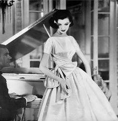 1956 Joan Romano in perfect party dress of pearl satin from