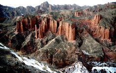Rock formations in the Zhangye Danxia Landform Geological Park in Gansu Province, on January 19, 2013.