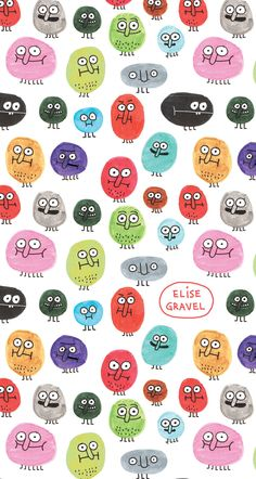 Elise Gravel illustration • faces • fun • creatures • cute • colorful • art • watercolor • pattern • happy • doodle • pink • green • red •