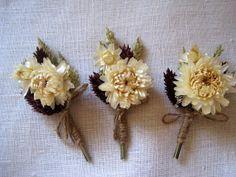 Summer dried wheat boutonniere set 6  groomsman by FlowerDecoupage