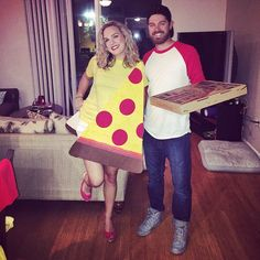 Pin for Later: 30 Halloween Costumes For the Couple Who's Obsessed With Food Pizza and Pizza Delivery Boy
