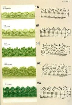 Crochet Edgings with pattern charts. Loads of crochet Motifs, flowers & beautifu… Crochet Edgings with pattern charts. Loads of crochet Motifs, flowers & beautiful Edging patterns at site ! Crochet Boarders, Crochet Lace Edging, Crochet Motifs, Crochet Diagram, Crochet Stitches Patterns, Crochet Chart, Crochet Trim, Crochet Designs, Easy Crochet