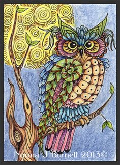 Thought I'd do a few owls - both are ACEO size, 2.5x3.5 inches, Micron Pen and Inktense ink  pencils on hot pressed watercolor paper.      ...