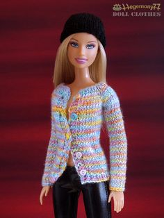Barbie doll in hand knitted cardigan