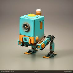 Day 11 of March of Robots Here's a more boxy type of biped robot. 3d Character, Character Concept, Character Design, Blender 3d, Robot Cute, Arte Robot, Star Wars Outfits, Robot Concept Art, Modelos 3d