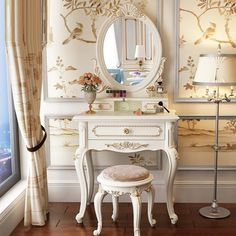 Country Interior Design, Bathroom Interior Design, Bedroom Furniture, Home Furniture, Bedroom Decor, Korean Bedroom, Shopkins Room, Vanity Table Set, Dressing Table Vanity