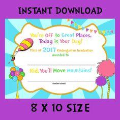 Kindergarten Graduation Certificate 8x10 INSTANT DOWNLOAD by SJPInvitations