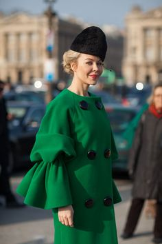 Gorgeous couture coat as worn by Ulyana Sergeenko, on the streets of Paris. Paris Fashion Week (photo by Diego Zuko)