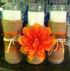 Burlap candle, fall decor, shabby, DIY, Stray Furniture Redeux