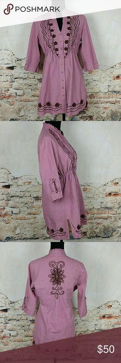 GRETTY ZUEGER Sz M Plum Purple Pink Tunic Top GRETTY ZUEGER Sz M Plum Purple Pink Tunic Top Dress Button Down Blouse Peru Gretty Zueger Tops Tunics