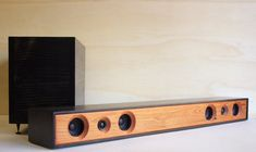 Sound Bar 2.1 All-In-One Powered Home Theater System || Reclaimed Redwood with Ebony Stained Enclosure ||