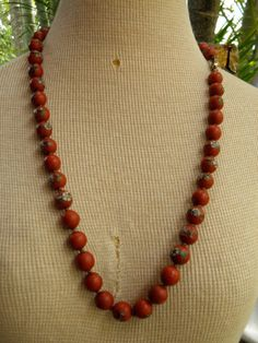 Vintage Chinese Red Cloisonne Cinnabar Beaded 28 Inch Knotted Necklace, 12mm Beads,. $410.00, via Etsy.