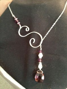 "Lariat necklace - I think I'm going to make an ""A"" initial and the stones will be royal blue..."
