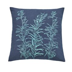 Lily Leaf hand-embroidered cushion
