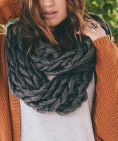 Leto Collection Black & Gray Heather Braided-Knit Infinity Scarf | zulily