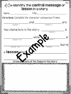- I can identify the central message or lesson in the story. Reading Response Activities, Teaching Reading, Learning, 2nd Grade Ela, Third Grade Reading, Beginning Middle End, Razzle Dazzle, Student Teaching, Comprehension