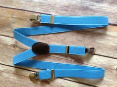 Light Blue Adjustable Suspenders -  Baby thru Youth adjustable wedding ring bearer usher birthday party photo prop dress up baby boy infant child toddler kid turquoise baby blue