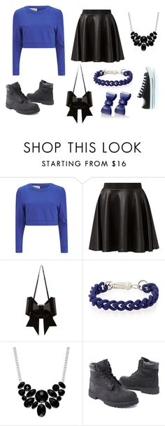 """""""Black and blue"""" by nosaj14 ❤ liked on Polyvore featuring Lavish Alice, Cameo Rose, MM6 Maison Margiela, Style & Co., Converse and Timberland"""