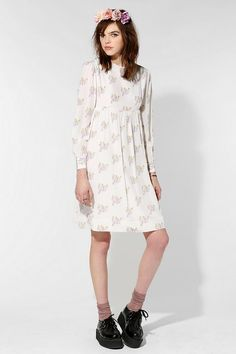 FAMILY AFFAIRS Silk Crystallized Babydoll Dress  #UrbanOutfitters