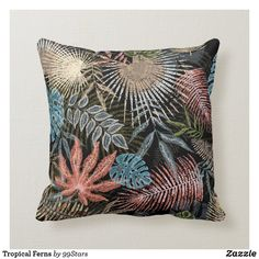 Tropical Ferns Throw Pillow