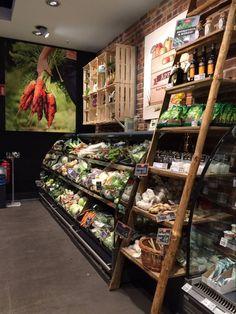 Butcher shop, market displays, shop interior design, store design, retail d Shop Interior Design, Retail Design, Store Design, Organic Market, Fresh Market, Supermarket, Vegetable Shop, Food Retail, Fruit Shop