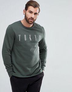 ASOS Sweatshirt With Tokyo Print - Green
