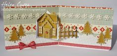 Helen Cryer using the Pop it Ups House Pivot Card, Holiday House and Evergreen Pivot Card dies by Karen Burniston for Elizabeth Craft Designs. - The Dining Room Drawers: Pop it Ups Gingerbread House Pivot Christmas Card