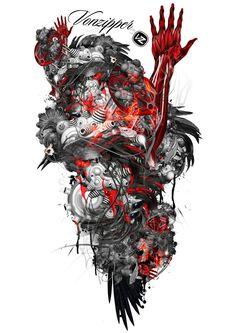 Grunge Machine by doeasembilanpro on deviantART Genji Crows Zero, Trash Polka Art, Ninja Art, Black Lion, Dark Fantasy Art, Tattoo Sketches, Inked Girls, Graphic Design Inspiration, I Tattoo