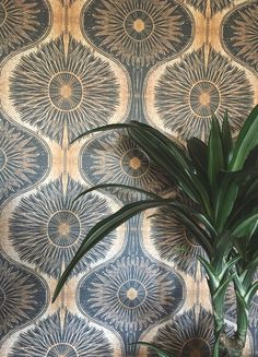 Gold & Black Bibana Wallpaper by Anna Hayman Design availble from Woodchip & Magnolia