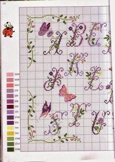 Punto croce - Schemi Gratis e Tutorial: Schema Alfabeto con fiori di lavanda e farfalle