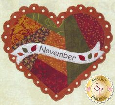 Celebrate the Year - November Kit: Celebrate the Year is a Shabby Exclusive designed by Jennifer Bosworth! Create adorable seasonal decor for your home by framing it, making a pillow, or making a quilt!This is the Block 11 - November Kit, which includes all instructions and materials (fabrics, wool felt, and embellishments) needed to complete the block that finishes at 10 1/2