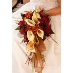Bride Fall Wedding Bouquet Ivory Orange Red Rose and Calla Lily 4... ❤ liked on Polyvore featuring home, home decor, rose home decor, fall home decor and autumn home decor