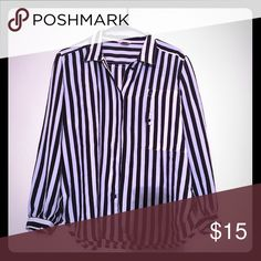 Stripey Lolita blouse Black and white silk volumeous button up shirt with a high neck and a sideways pocket. Tops Blouses