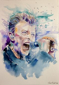 Portrait of David Bowie by on Stars Portraits, the biggest online gallery for celebrity portraits. David Bowie Tribute, David Bowie Art, Watercolor Drawing, Watercolor Portraits, Major Tom, Celebrity Portraits, Artist Names, Art Sketchbook, Music Is Life