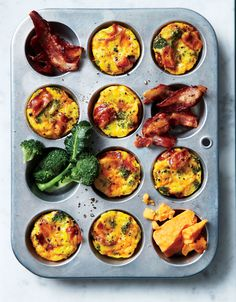 Broccoli-and-Bacon Muffin-Tin Frittatas | This easy make-ahead breakfast will have you set for the week. You get two mini frittatas per serving for only 168 calories; pair with a piece of fruit for a satisfying breakfast. Store cooked frittatas in the fridge for up to four days.