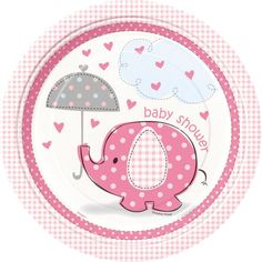 Umbrellaphants Pink Lunch Plates
